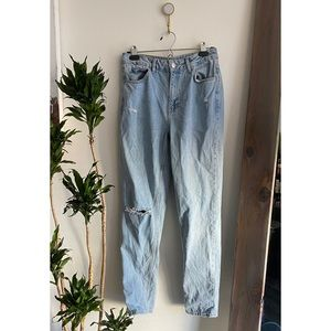 Topshop Moto High Waisted Distressed Mom Jean